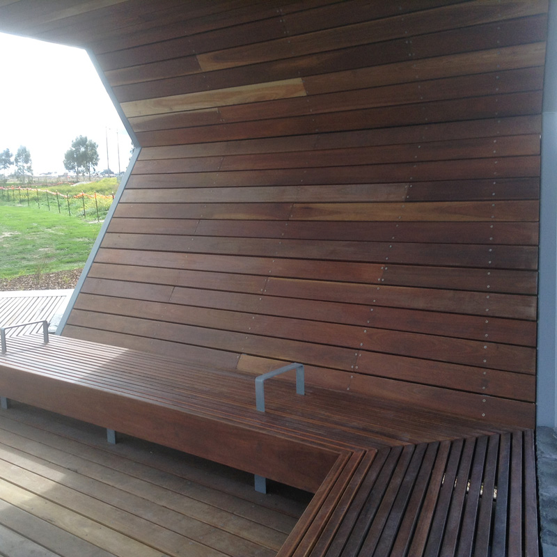 Shade Shelter Deck, Seating and Handrail